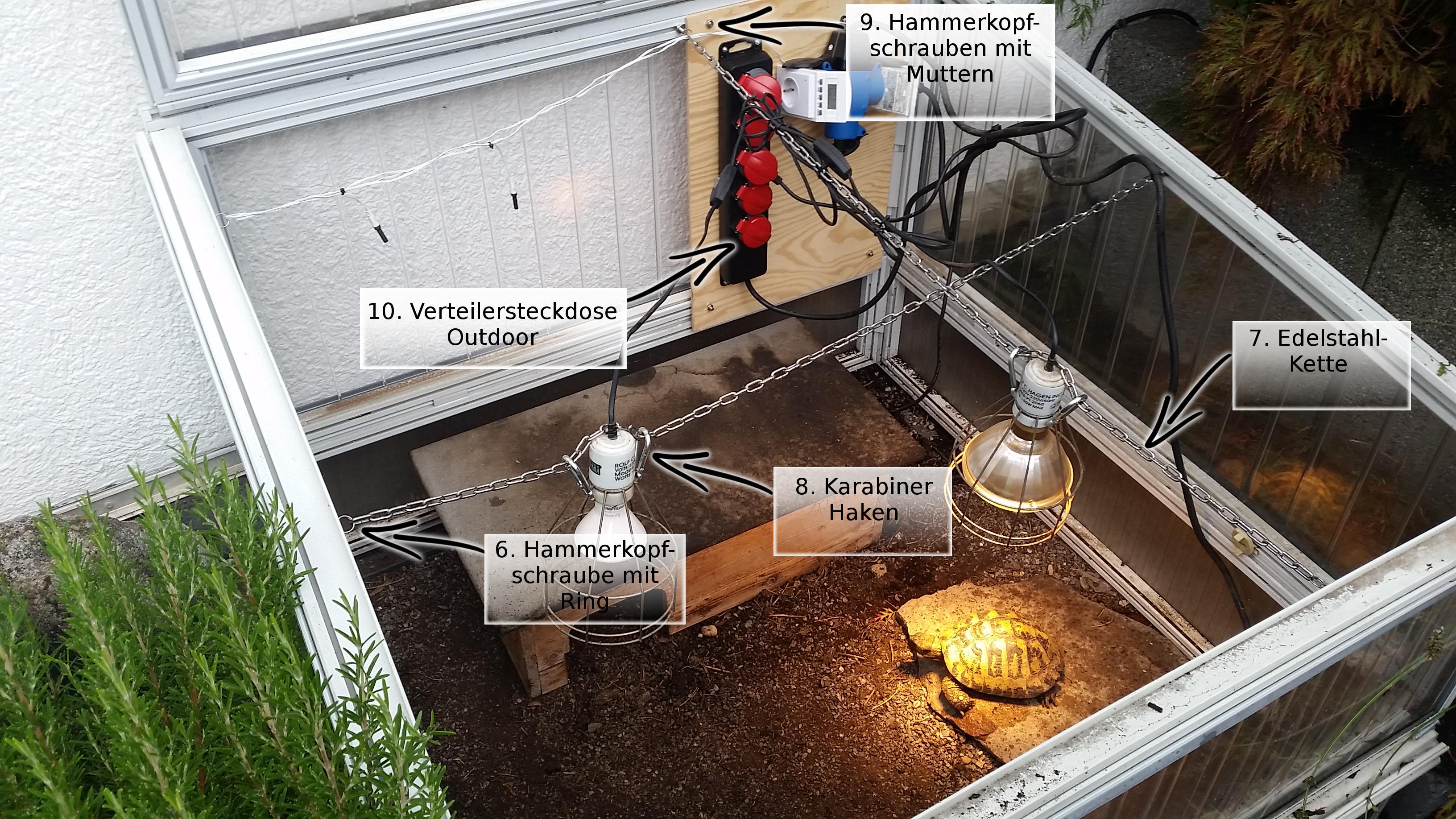 Werschildkröten Beleuchtung Dauer | Befestigung Der Lampen Und Strahler Im Fruhbeet Landschildkroeten De